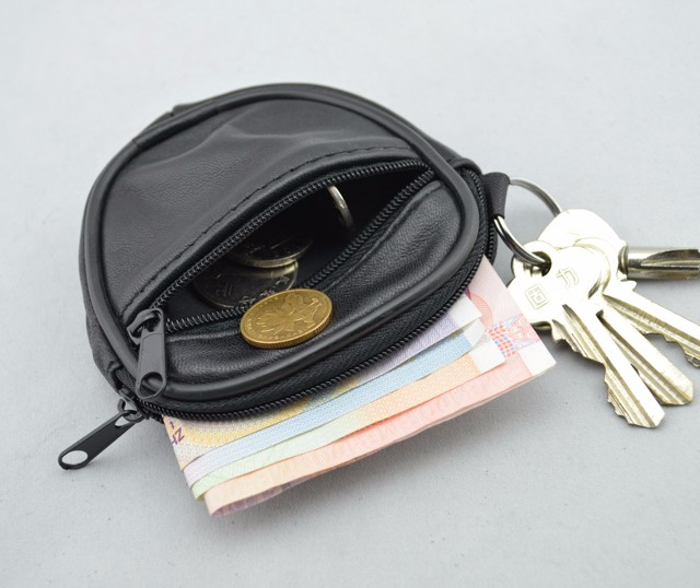 Mini Men's genuine Leather Waist Belt Loops Bag Coin Pocket Case Wallet  (4)