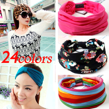 24 colors Candy-colored sports elastic Hairband Fashion Fabric Wide headband For Women Hair accessoires Floral Print Turban 1pcs(China (Mainland))
