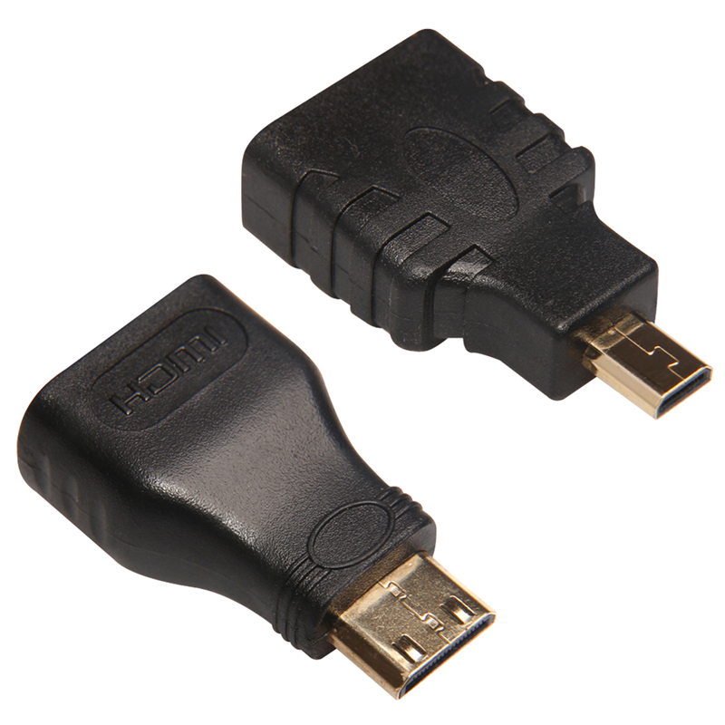Mini HDMI Male to HDMI Female + Micro to HDMI Adapter Connector For HDTV(China (Mainland))