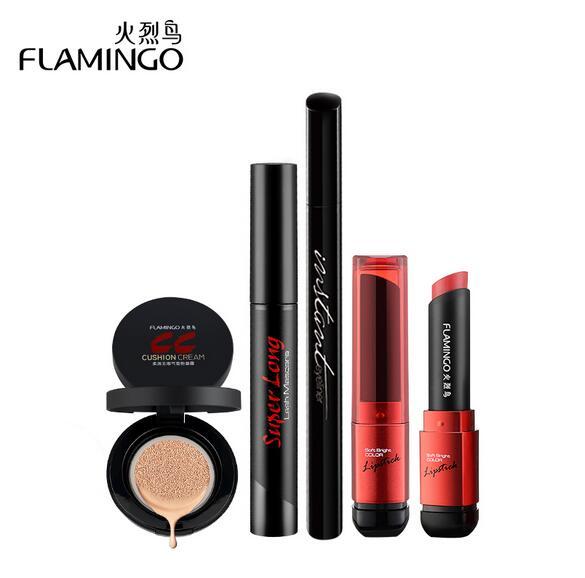 Free Shipping China top 1 Flamingo brand Value Pack beginners cushion waterproof makeup mascara eyeliner CC Cream Lipstick Set(China (Mainland))