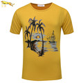 EA 2016 New Short Sleeve seaside sailboat Printed Casual men t shirt Fashion Brand Clothing High