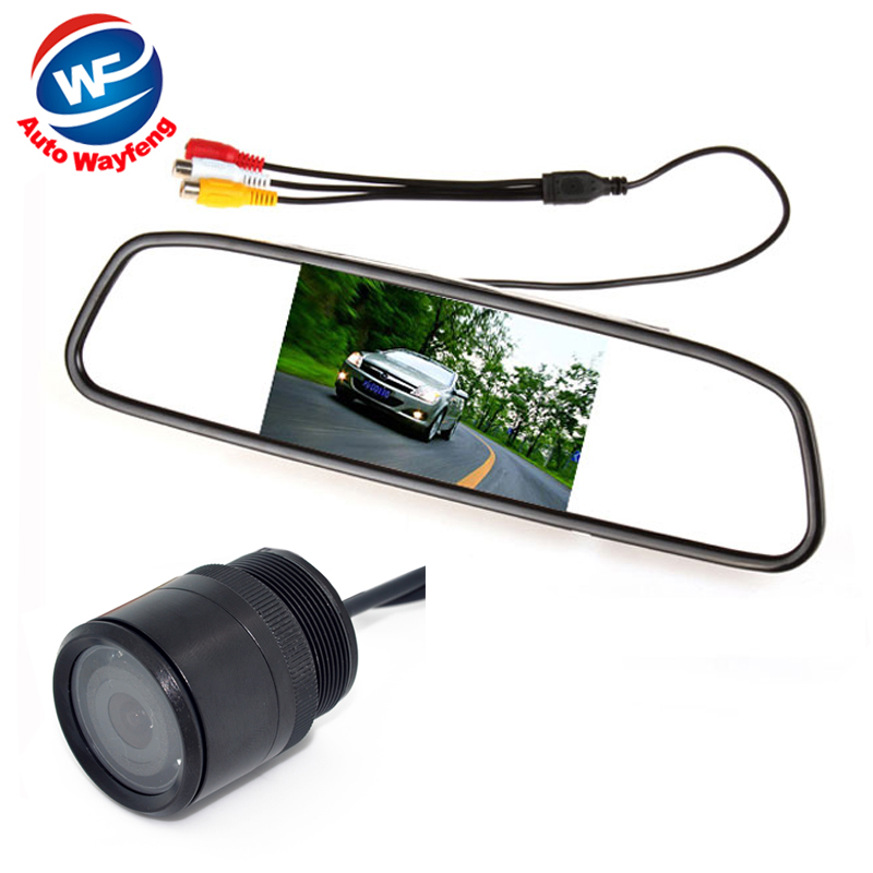 Auto Parking Assistance System 2 in 1 4.3 Digital TFT LCD Mirror Car Parking Monitor + 170 Degrees Mini Car Rear view Camera(China (Mainland))