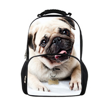 3D Animal Children School Bags for Girls Cute Pug Dog Print Teenager Schoolbag College Students Fashion Kids Casual Travel Bags(China (Mainland))
