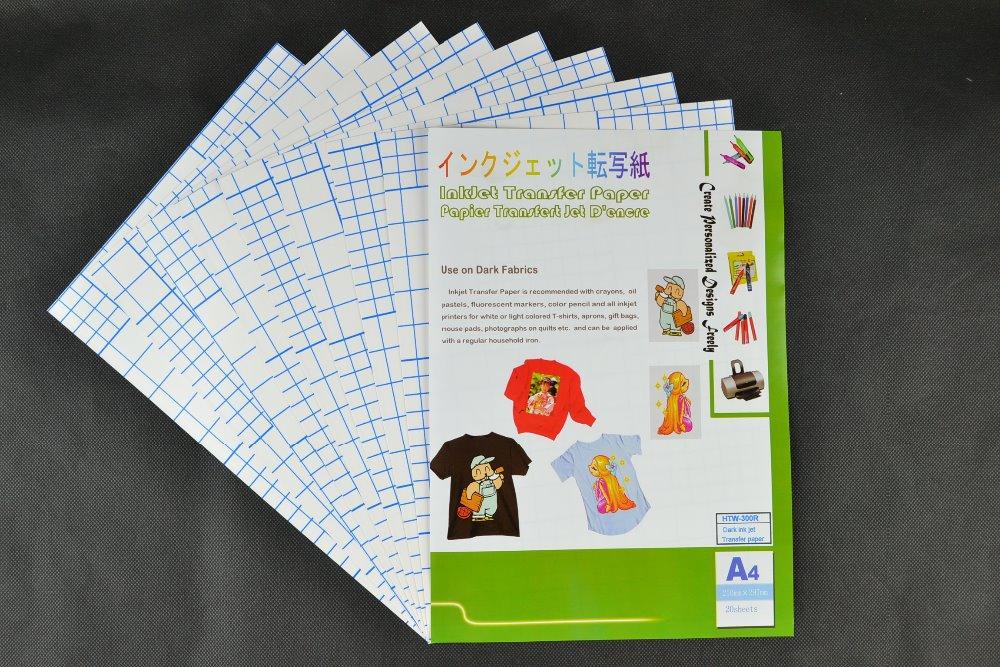 (A4*10PCS)Super quality Dark Iron on inkjet heat transfer paper for 100% cotton T-shirts, For Dark and Light Fabrics, HTW-300R(China (Mainland))
