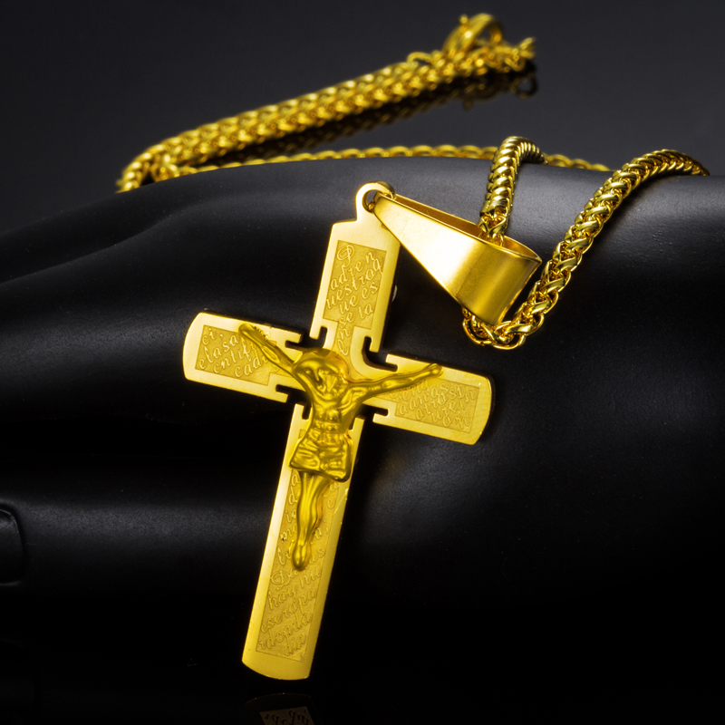 "Crucifix Cross 2016 Trendy 18K Real Gold Plated 316L Stainless Steel Cross Pendant With 22"" Necklace Men Jewelry Wholesale(China (Mainland))"