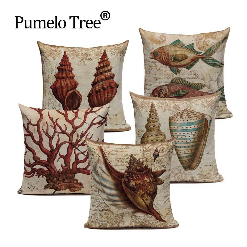 Customized Cotton Linen Marine American Shell Tropical Nautilus Cushion Pillows 45Cmx45Cm Square Bench Printed Pillow Case(China (Mainland))