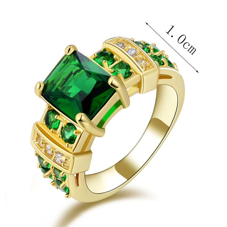 תכשיטי אופנה גודל 6,7,8,9,10 החדש של גברת מדהימה ירוק אמרלד Cz 18K Yelow זהב מלא טבעת אירוסין מתנה משלוח חינם