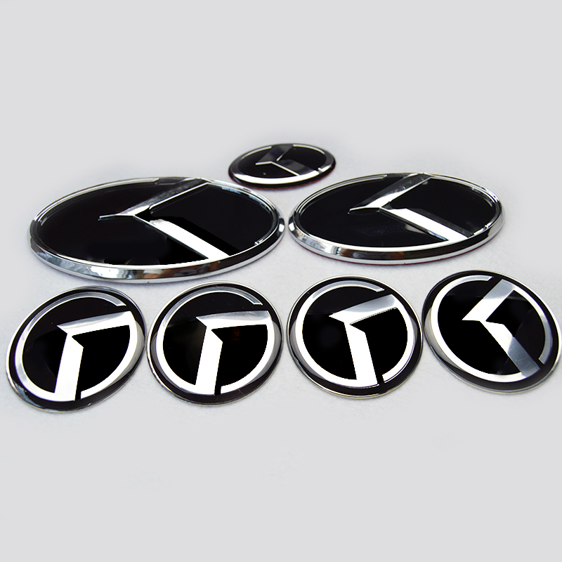 7x new black / red K logo badge emblem for KIA new Forte YD K3 2014 2015/car emblems/3D sticker k5 K Logo Hood Trunk Steering(China (Mainland))