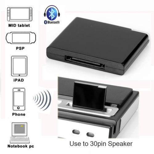 A2DP Bluetooth Music Audio Receiver Adapter For iPod for iPhone 30-Pin Dock Speaker Black New<br><br>Aliexpress