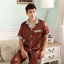 Free shipping male sleepwear summer set short sleeve length pants silk sleepwear thin silk pure color design lounge(China (Mainland))