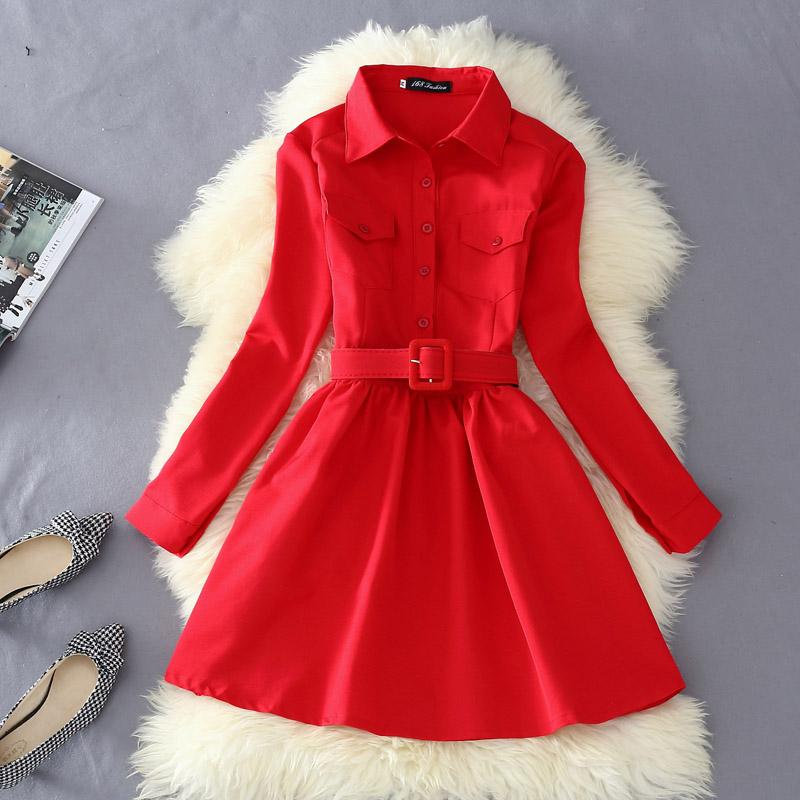 2015 Korean New Fashion Ladies Autumn Dresses Thin Slim Peter Pan Collar Long Sleeve Dress Single Breasted Knee Length Dress(China (Mainland))