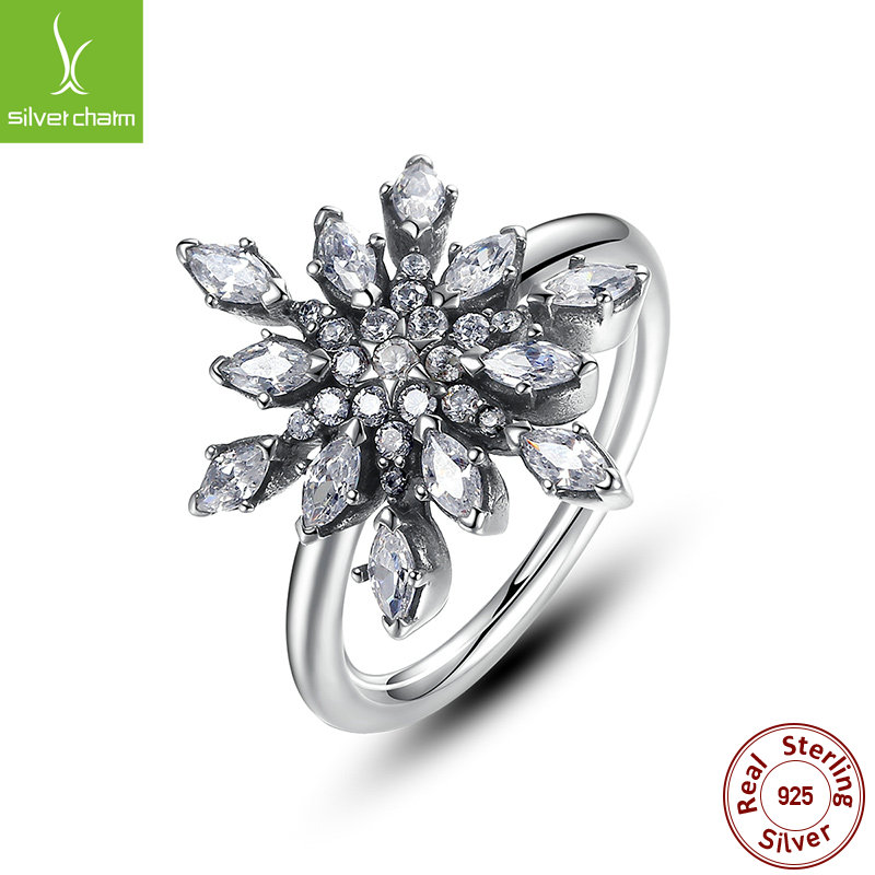 2016 New Brand Fashion 925 Sterling Silver Crystalized Snowflake Wedding Rings For Women Original Fine Jewelry Gift(China (Mainland))