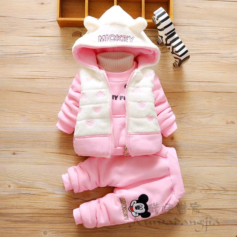 winter kids clothes plus velvet thickening three piece set wadded jacket set casual set baby girl clothes<br><br>Aliexpress