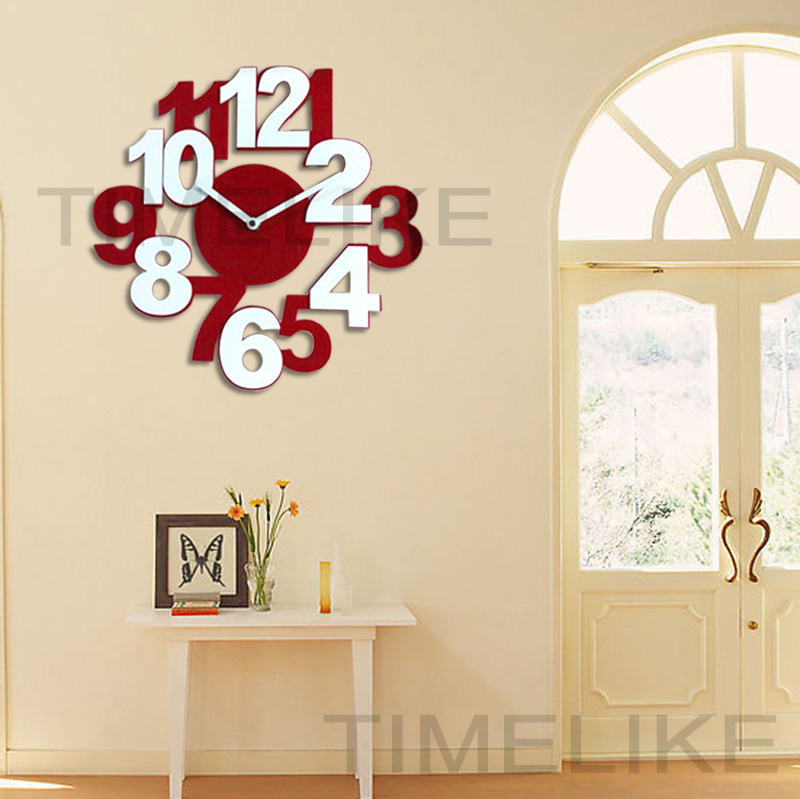 Living Room Big Decorative Wall Clock 3D Acrylic Wall Mounted Time Clocks Fashion Art Watch(China (Mainland))