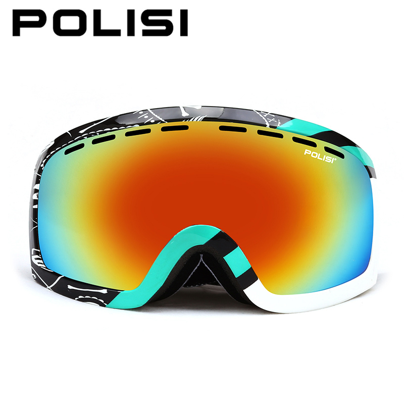 POLISI Snowboard Ski Goggles Winter UV Protection Windproof Skiing Eyewear Double Layer Anti-Fog Lens Outdoor Snow Skate Glasses