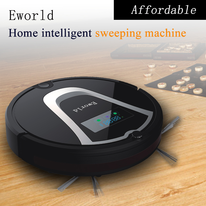 Eworld Mini Robot Vacuum Cleaner, Smart Robotic Cleaner for Home(Black Color) with Automatic Recharge, 2 Side Brushes(China (Mainland))