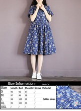 2016 Summer Style Loose Casual Cotton Linen Dresses Female New Fashion Loose Fresh Cherry Print Cute Pleated Dress Party Evening(China (Mainland))
