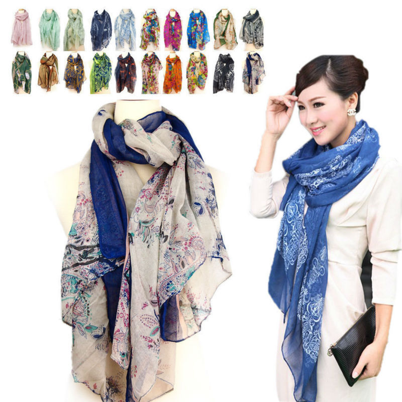Lot 10 PcsWomen's Chiffon Long Scarf Fashion Girl Soft Wrap Shawl Voile Stole Style Shawl(China (Mainland))