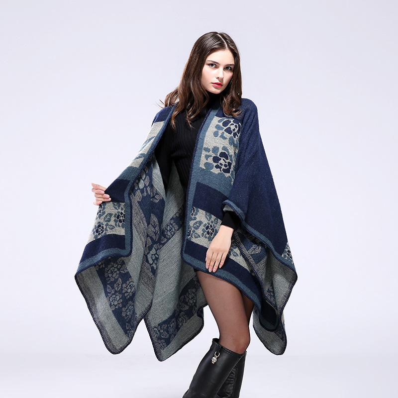 2016 original single European style warm autumn and winter flowers shawl thickening cape coat both sides wear scarves Ms.(China (Mainland))