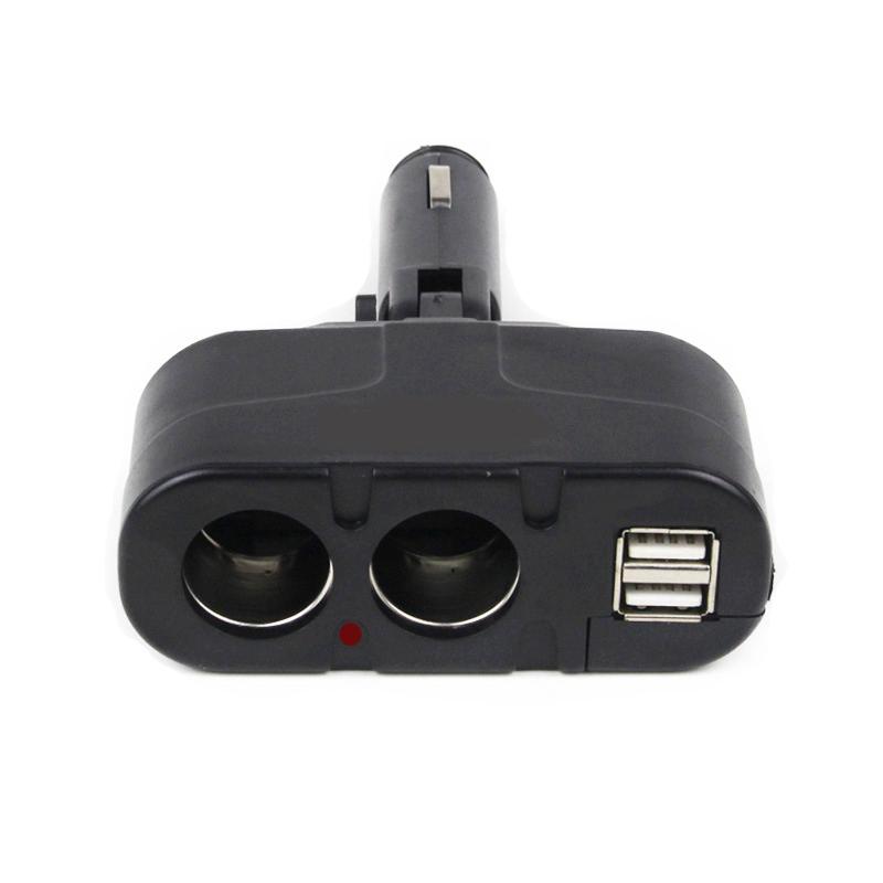 Dual USB Car Charger + Dual Cigarette Lighter Charger For BMW AUDI VW Cigarette Lighter Socket Car Charger 12V LED light(China (Mainland))