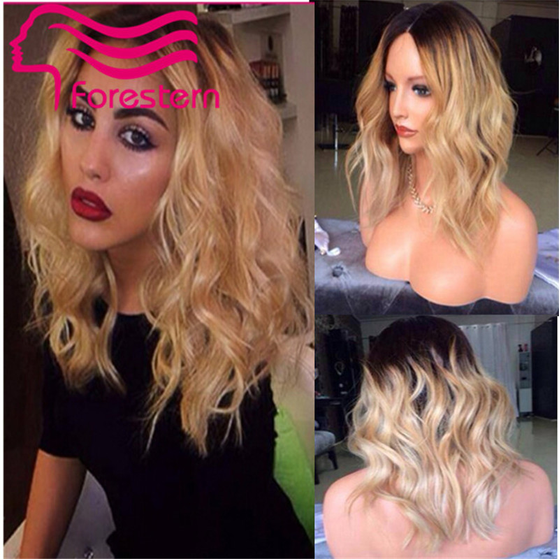 Short Wavy Blonde Ombre Human Hair Wig Bob Style Glueless Virgin Peruvian Human Hair Lace Front  Wigs Ombre Color 1b/613<br><br>Aliexpress