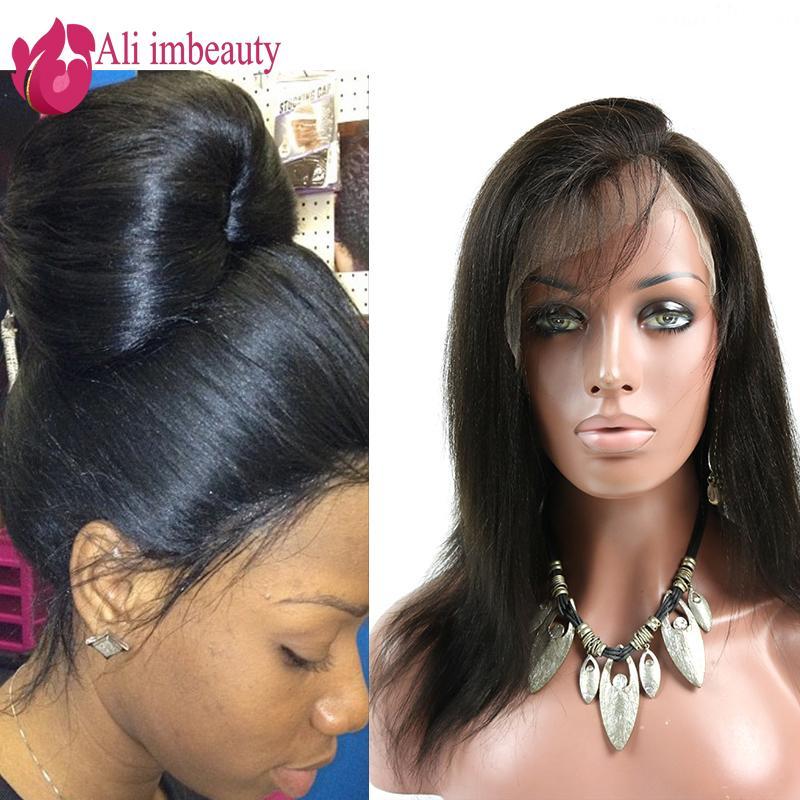 7A Italian Yaki Full Lace Human Hair Wigs Brazilian Virgin Yaki Straight Lace Front Wigs Glueless Full Lace Wigs For Black Women(China (Mainland))