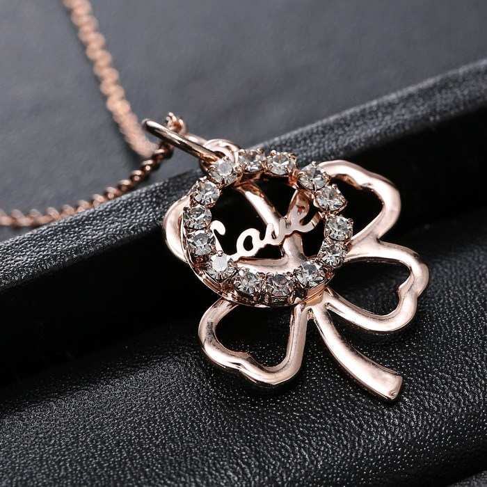 Necklaces fashion Jewelry Pedant necklace For Women Wholesale Rose Gold Plated Austrian crystal Clover(China (Mainland))