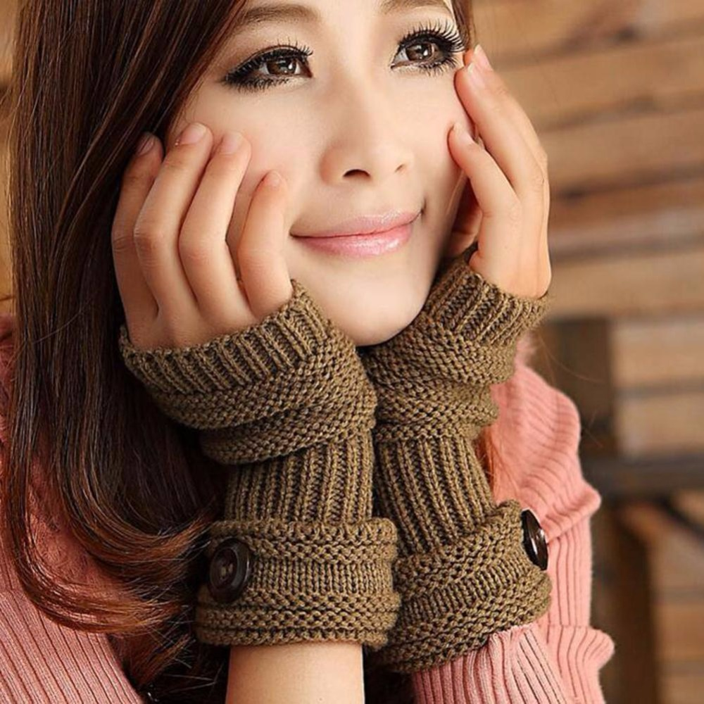 New Women Gloves Winter Cute Ladies Gifts Glove Warm Magic Gloves Fashion Button Wool Knit Half Finger Mitts Guantes B2