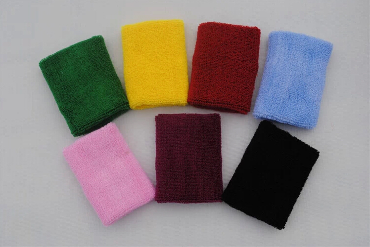 10pcs/lot H Quality 8*10cm Badminton/Basketball/Volleyball Wrist Bands Breathable Tennis Tower Wristbands Cotton 11 Colors L171