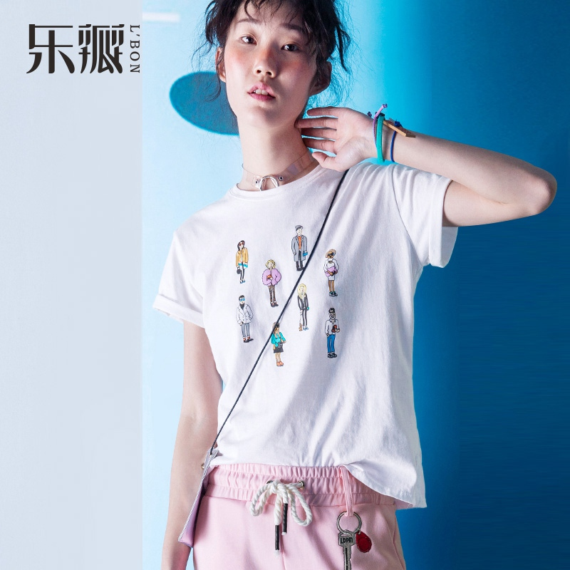 L' BON 2016 New Women Summer T-shirt Funny Cut Character Pattern Tops Casual White Loose Short Sleeves Tee Shirts Korean Style(China (Mainland))