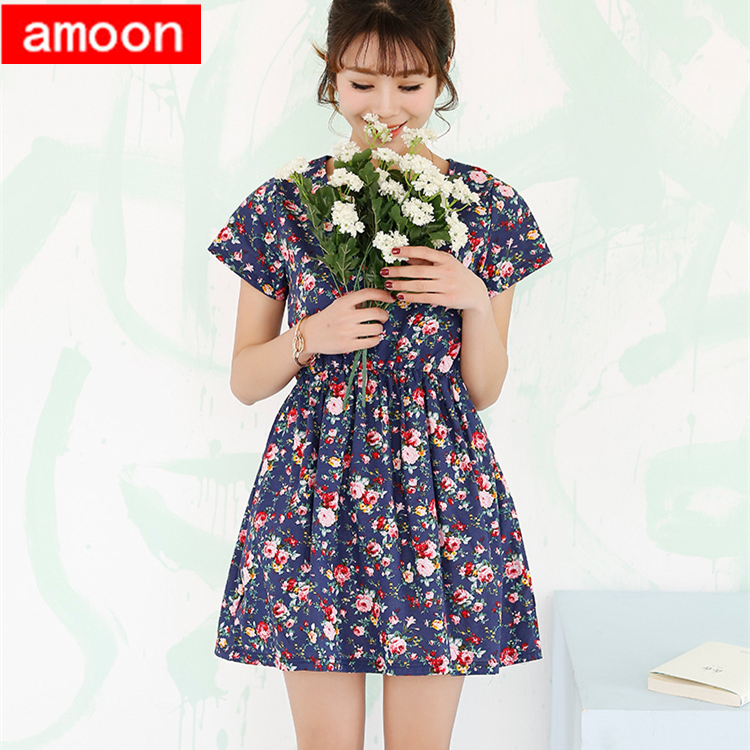 Amoon / Woman Girl 2015 New Summer Style Cute Floral Flower Pastoral Vintage Print O Neck Cotton Dress Free Size Blue Colors - ^^ Flats and More store