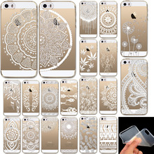 Soft Phone Case Cover For iPhone 5 5s SE Rubber Silicon Clear Vintage White Datura Paisley Flower Mandala Henna Dreamcatcher