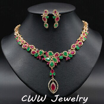 100% Luxury CZ Diamond Necklace and Earrings Wedding Party Accessories Bridal Jewelry Sets For Brides Wedding Dress (T076)
