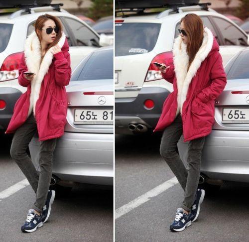Мода стильный новых женщин руно теплый искусственного меха зимнее пальто с капюшоном куртка пальто куртка