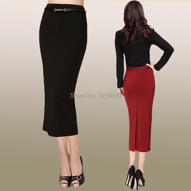 Below The Knee Pencil Skirt - Skirts