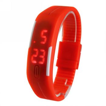 Новый спортивный браслет из светодиодов 2015 спортивные часы мода цифровые часы дата время мужчины наручные часы водонепроницаемые красочный резинкой