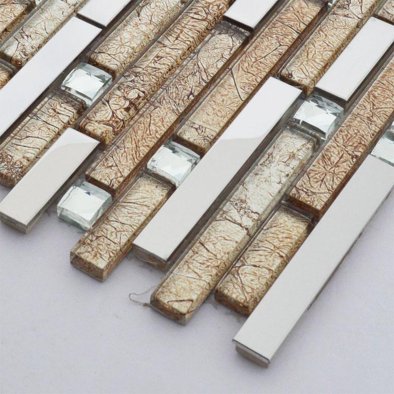 Acquista all 39 ingrosso online rivestimenti in acciaio inox - Striscia di mosaico in bagno ...