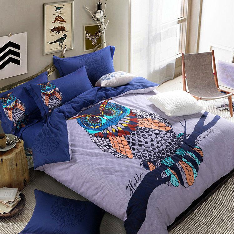 Owl print sanding cotton bedding set queen king size duvet cover sets,quilt case+flat bedsheet+pillow sham 4pcs bedcover sets