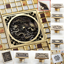 New Arrival Antique Brass Bathroom Square Floor Drain Waste Drainer Multiple Types Free Shipping(China (Mainland))