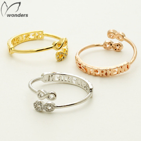 2015 Simple Vintage Gold Pinky Engrave Best Friend Infinity Crystal Twist Rings For Girl Birthday Gift Free Shipping(China (Mainland))