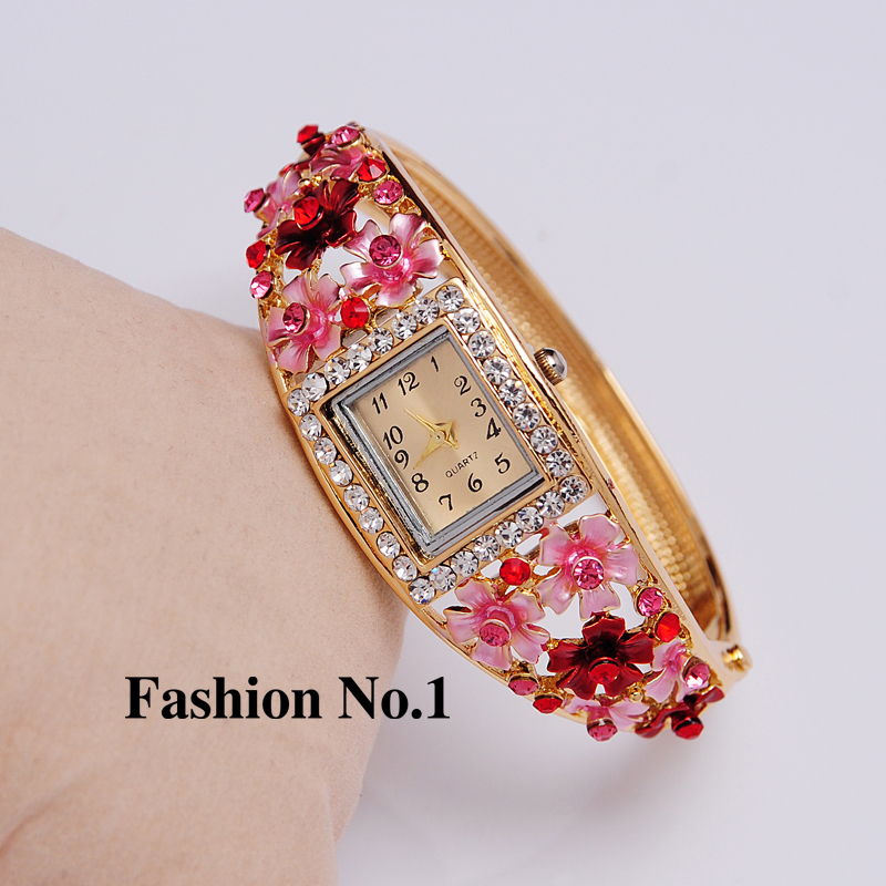 Гаджет  Wristwatches 5 Colors Women Dress Watches Flower 18k Gold Plated Rhinestone Quartz Bracelet Bangle Watches Free Shipping None Часы