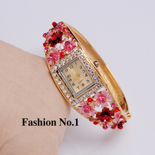 Wristwatches 5 Colors Women Dress Watches Flower 18k Gold Plated Rhinestone Quartz Bracelet Bangle Watches Free Shipping