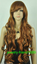 Wholesale& heat resistant LY free shipping>>>New wig brown long wig cosplay curly Heat Resistant wig