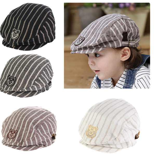 Popular Lovely Design Handsome Plaid Casual Hat Cute Baby Cap Kids Boys Girls Hats Newborn Photography Props Baby Beret Cap(China (Mainland))