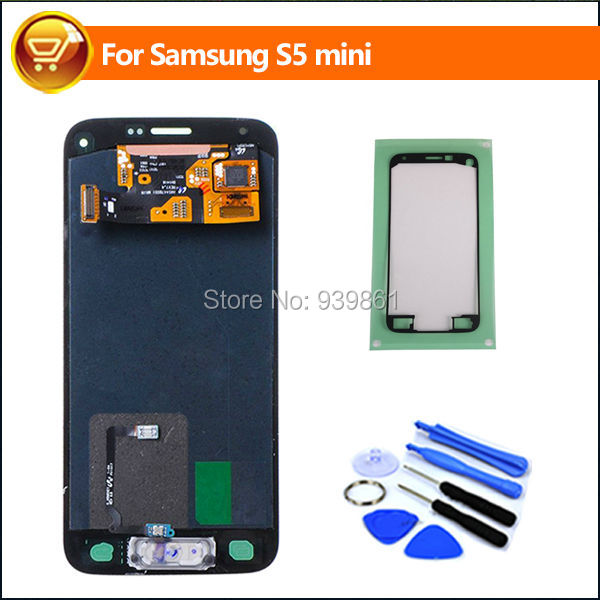 LCD Screen Display For Samsung Galaxy S5 mini G800 G800F LCD Touch Digitizer Assembly with Home Button Flex White,Free Shipping
