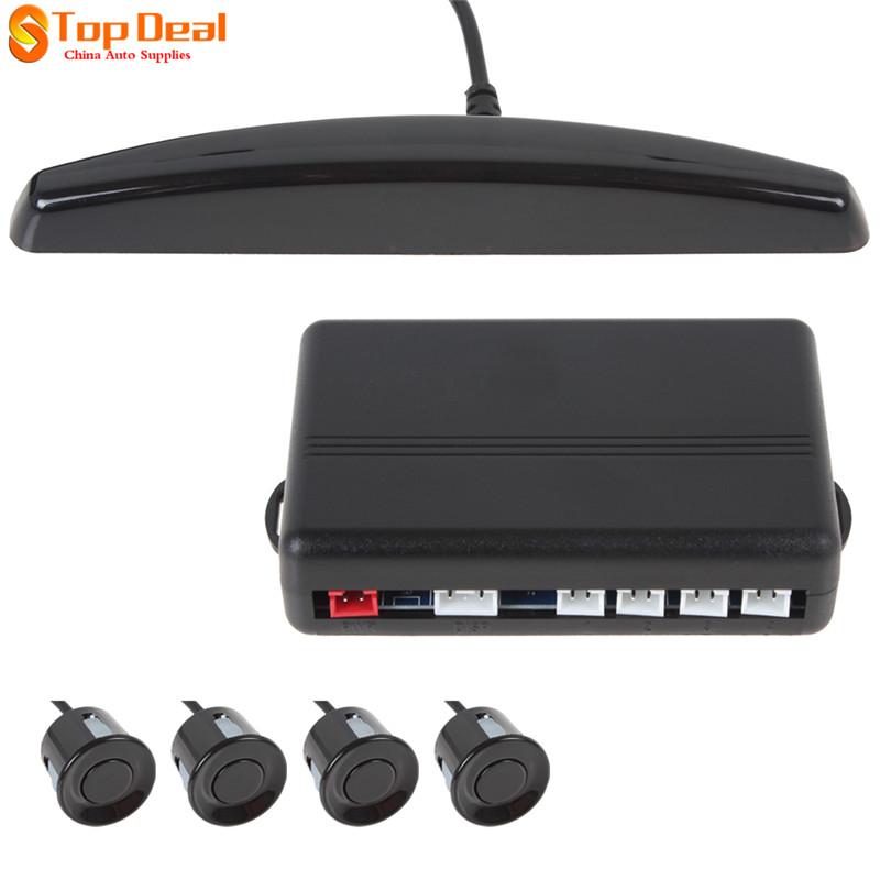 Hotsale 4 Sensors Black Wired Car Parking Sensor Kit Reverse Back up Buzzer Sound Alert Auto Rear view Paking Radar System 12V(China (Mainland))