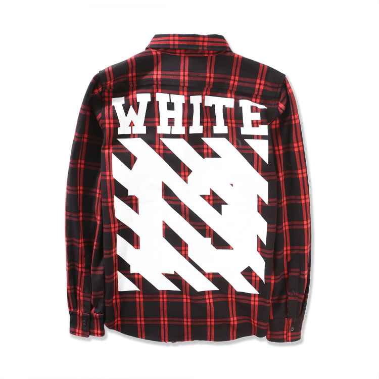 Pyrex OFF White Virgl Abolh men Casual font b Tartan b font plaid shirts Long sleeve