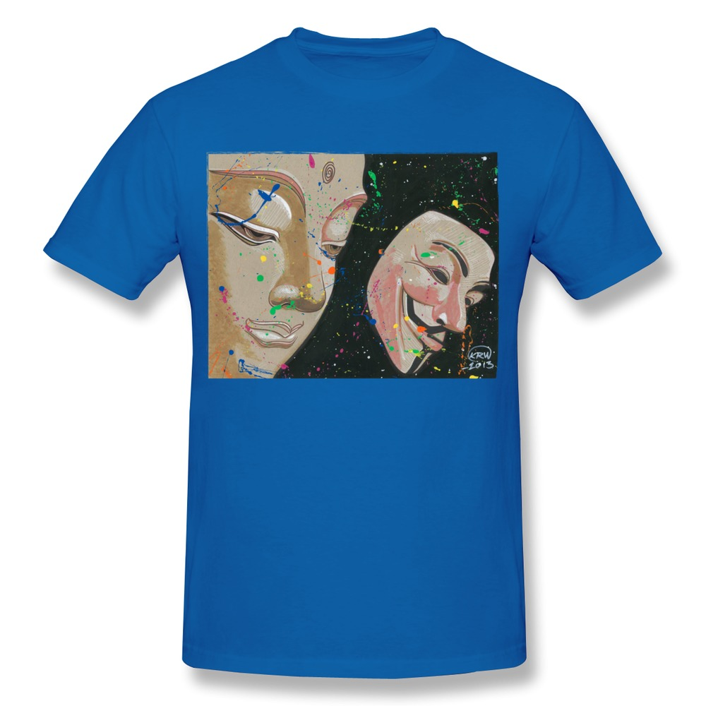 Men tee shirt 100 cotton buddha fawkes design your own for Custom t shirts design your own