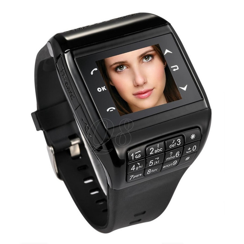 Sepver Dual SIM card smart watch phone Q8 with TF camera bluetooth touch screen FM MP3/MP4 GSM unlocked smartwatch mobile phone(China (Mainland))