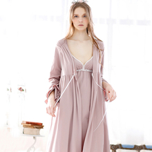 Fashion Spring And Autumn Bathrobes Brief Cotton Royal Sleeve Elegant Lacing Fresh Lounge Separate Robes For Women Free Shipping(China (Mainland))